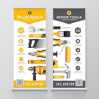 Строительные инструменты свернуть и дизайн баннера standee