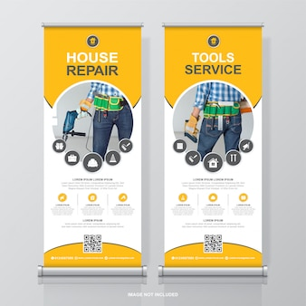 Construction tools roll up design and standee banner template for exhibition