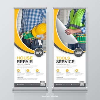 Construction tools roll up design and standee banner template