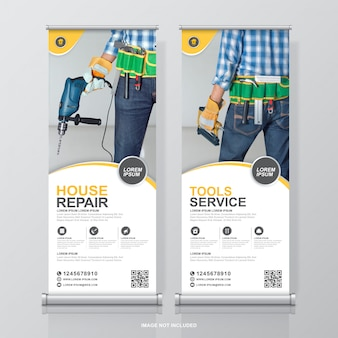 Construction tools roll up and standee banner design template decoration for exhibition
