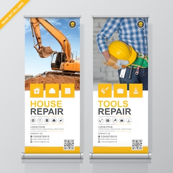 Construction tools roll up and standee banner design template