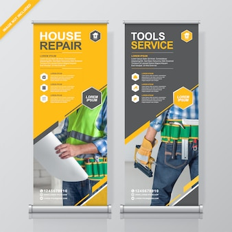 Construction tools roll up and standee  banner template