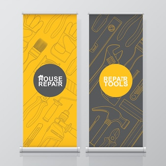 Construction tools roll up and standee design template