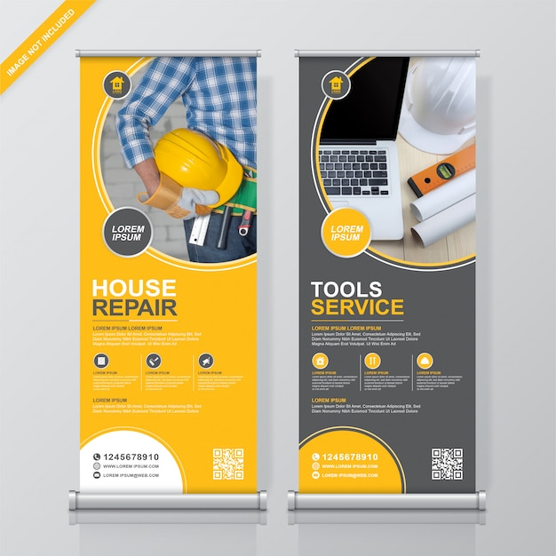 Construction tools roll up and standee