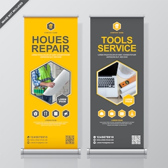 Construction tools rollup and standee banner design template