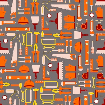 Construction tools seamless pattern. work equipment