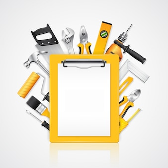 Construction tools service clipboard with tools supplies