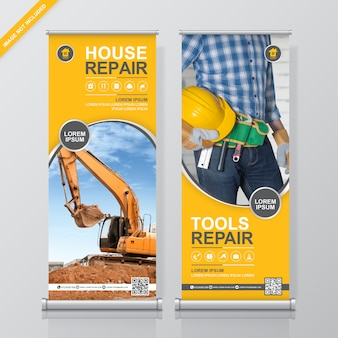Construction tools service roll up design, banner standee template