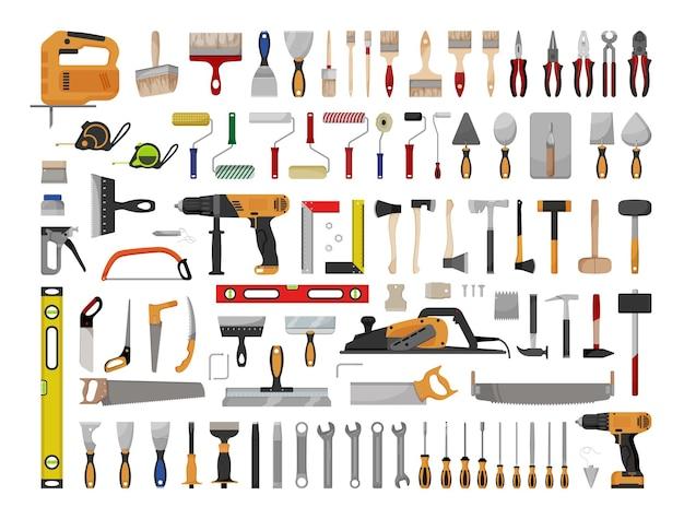 建設ツールセット。修理用の電気工具および手工具。