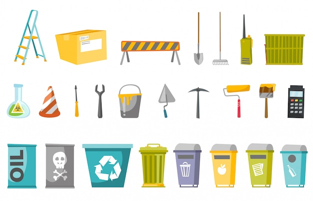 Construction tools and waste bins  set