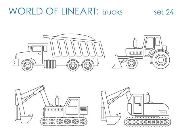 建設輸送アル線画セット。ティッパーショベルトラクターグレーダー。ラインアートコレクション。
