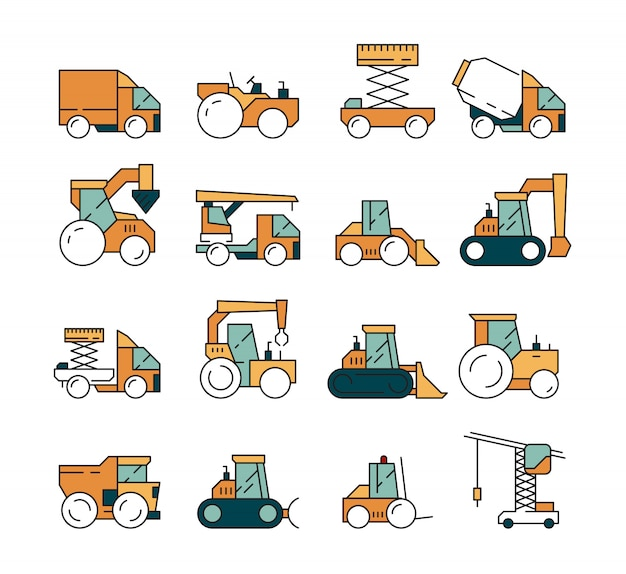 Construction transport. heavy machinery truck asphalt highway on machines for builders lifting crane bulldozer tractors vehicle