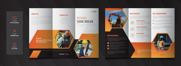 Construction tri fold brochure template design