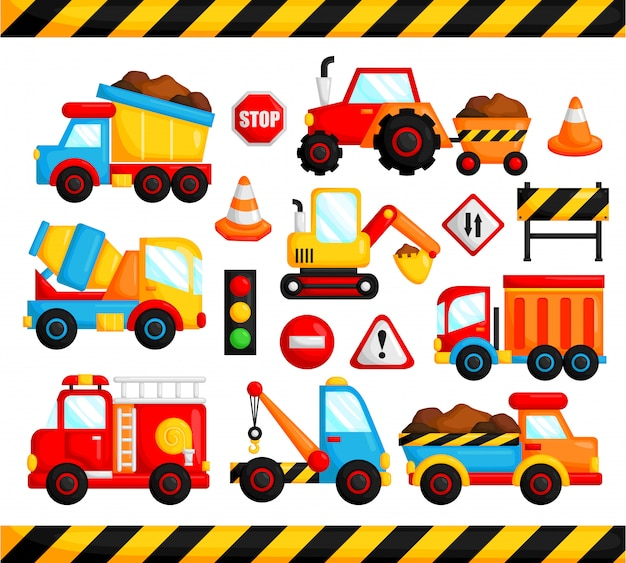 Construction truck vector set