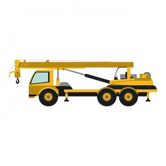 Construction truck with crane