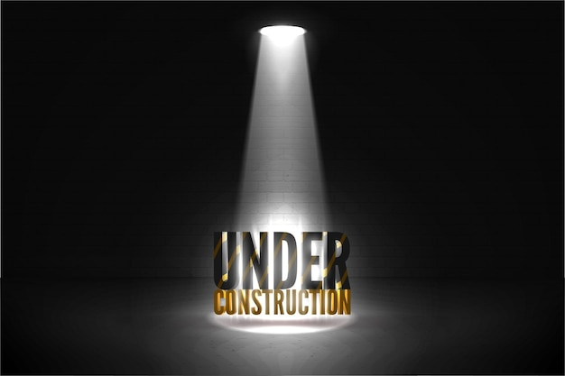 Under construction vector illustration on a brick wall grunge dark background in a spotlight glow. striped text in bright beam of limelight isolated on black.