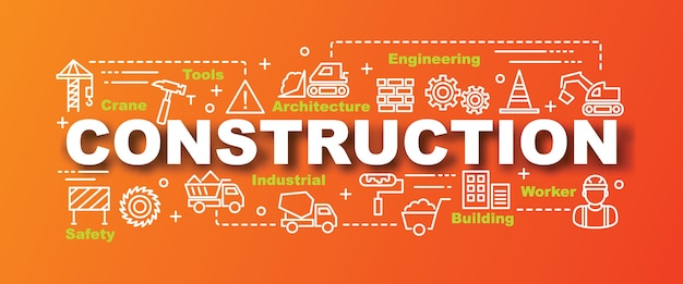 Construction vector trendy banner