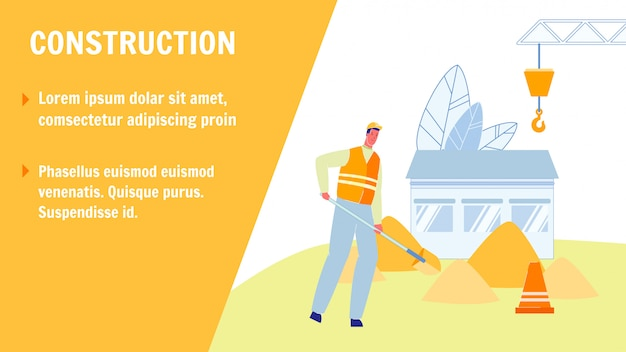 Construction vector web banner with text space