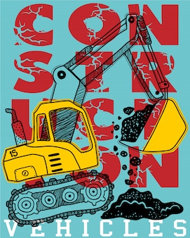 Construction vehicle cartoon on typography background