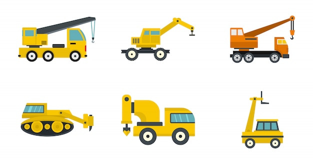 Construction vehicle icon set. flat set of construction vehicle vector icons collection isolated