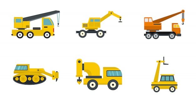 건설 차량 아이콘 세트입니다. 건설 차량 벡터 아이콘 컬렉션 절연의 평면 세트