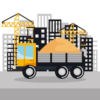 Under construction vehicle truck sand building background