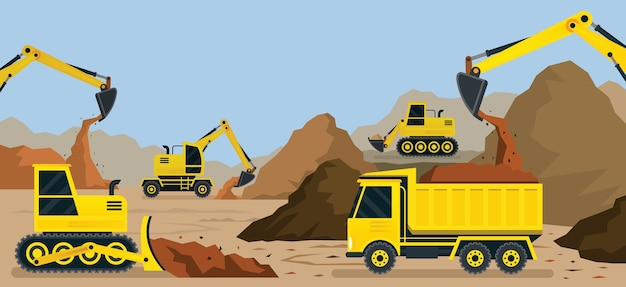 Construction vehicles, earthworks