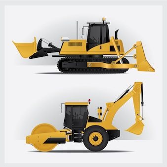 Construction vehicles illustration set
