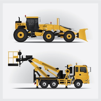 Construction vehicles illustration