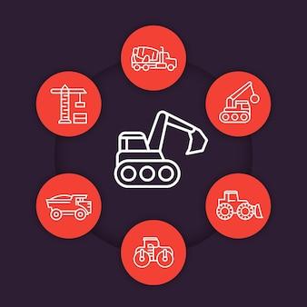 건설 차량 라인 아이콘 세트, 무거운 기계, 파는, 굴착기, 콘크리트 믹서 트럭