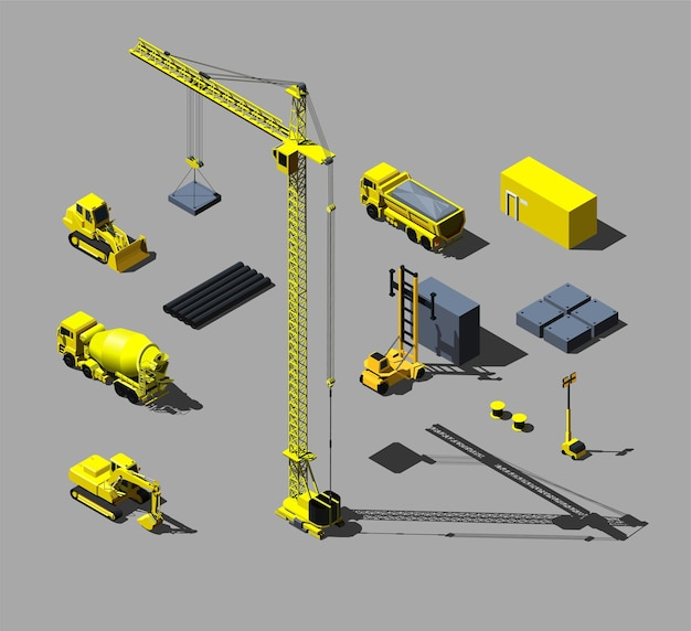 Construction vehicles and objects. isometric illustration.