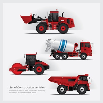 Construction vehicles set illustration