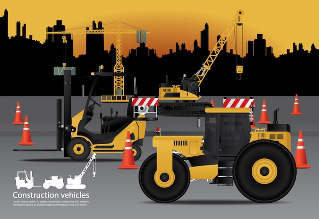 Construction vehicles set with building background