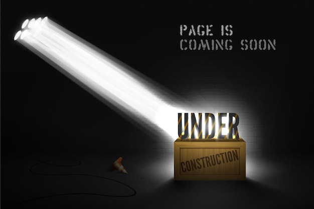 Under construction warning on wood box in spotlights on black background. website  coming soon with 3d text in searchlight on scene. web page dark banner with cone and shiny light.