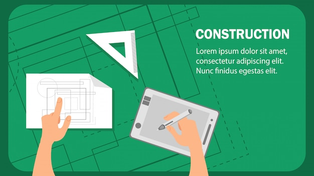 Construction website flat banner vector template.