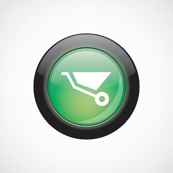 Construction wheelbarrow glass sign icon green shiny button. ui website button