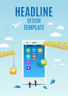Construction white smartphone, software and mobile application development. template design cover book, flyer, poster