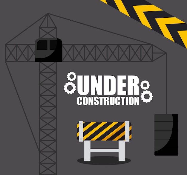 Under construction with barricade fence for website Premium Vector
