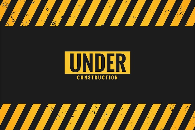Under construction with black and yellow stripes
