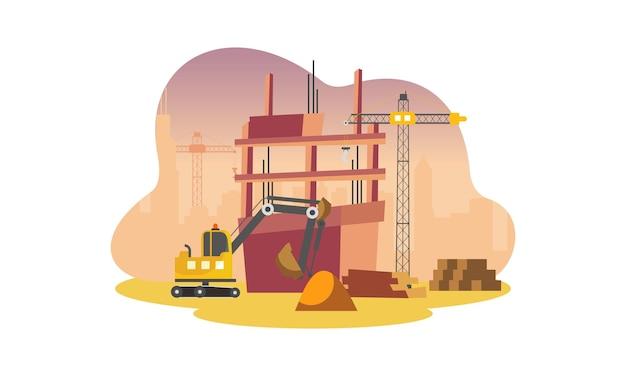 Строительство со строительным краном и иллюстрацией экскаватора