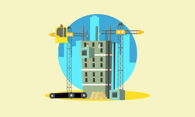 Construction with building crane and excavator illustration