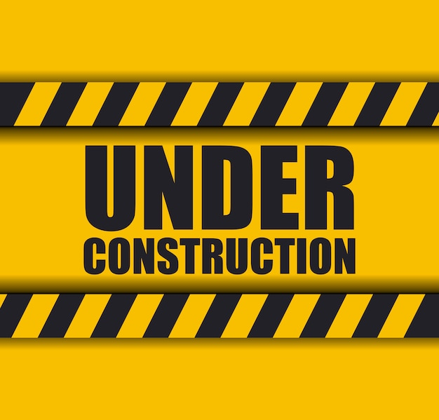 Under construction with caution tape for website
