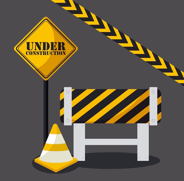 Under construction with cones