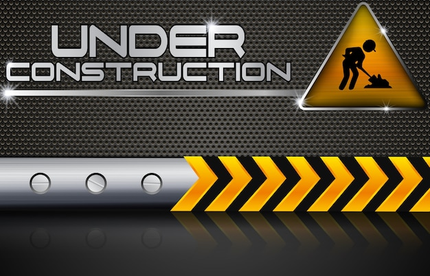 Under construction with road sign Premium Vector