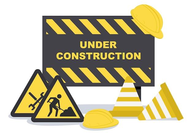 Under construction with symbol flat design illustration