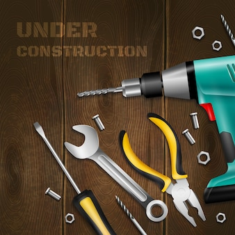 Under construction wooden  with scattered handle instrument for construction and repair works realistic