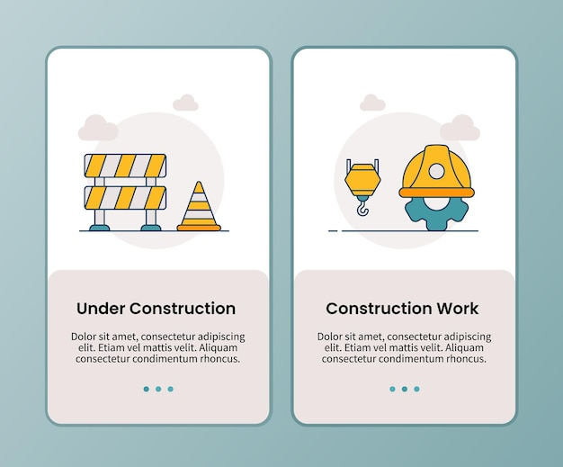 Under construction work campaign for onboarding mobile apps application template