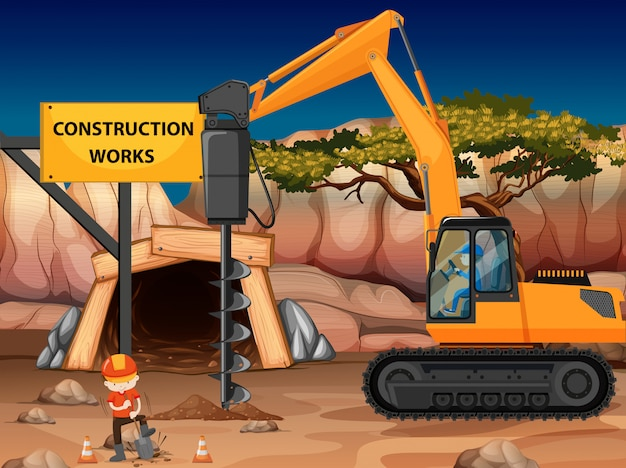 Construction work at the mine with core drill