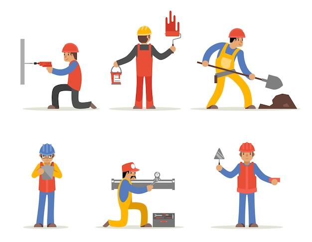 건설 노동자, 건축가 및 엔지니어 캐릭터.