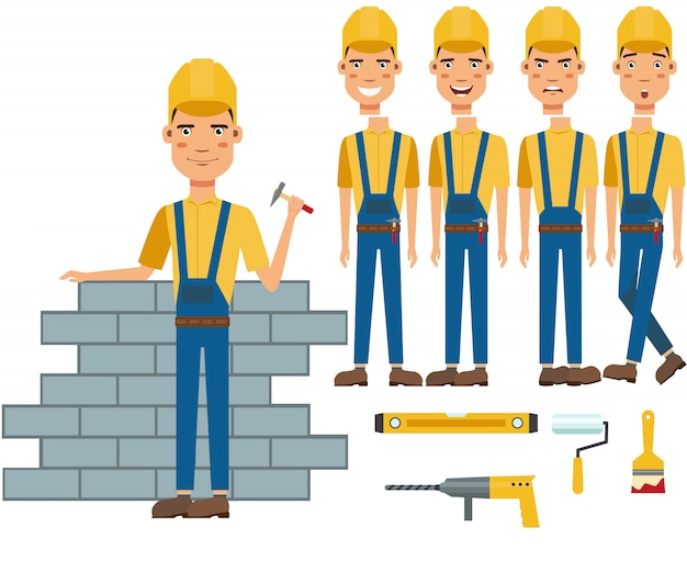 Construction worker building wall character set